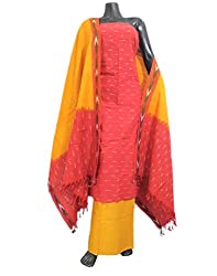 GiftPiper Handloom Cotton Ikat Salwar Suit- Red&Yellow