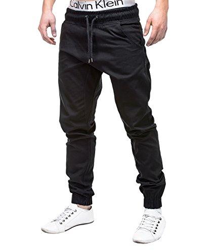 Betterstylz MasonBZ Chino Jogger Pantaloni Uomo Style Jogger Pant diff. colori (S-XXL) (M, Nero)