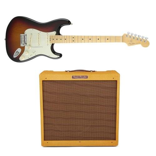 Fender American Elite Stratocaster Electric Guitar, 22 Frets, Modern C to D Neck - Bundle With Fender '57 Custom Deluxe Amplifier, 120V, Lacquered Tweed (Fender Elite Stratocaster compare prices)
