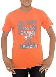Menthol Boys Round-Neck Organic Cotton Tshirt (11-12 Years, Orange)