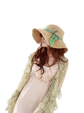 Autek cap Dames Corée du chaud vent le long de l'ombre des banderoles vertes grand chapeau de paille couleur beige (555-1)