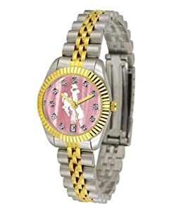 University of Wyoming Cowboys Ladies Gold Dress Watch With Crystals by SunTime