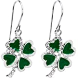 41XSO9TE95L. SL160  Jeweled Heart Shamrock Earrings