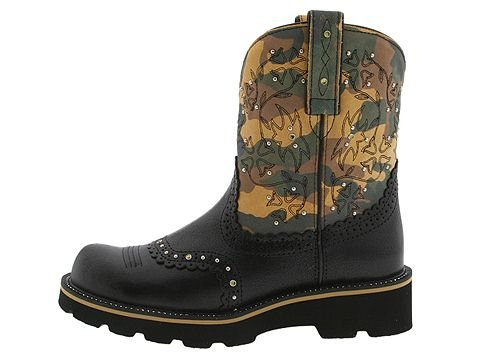 Ariat Gem Baby Boots Cowboy Boots Fatbaby 11 Black Crackle Camo - 16402