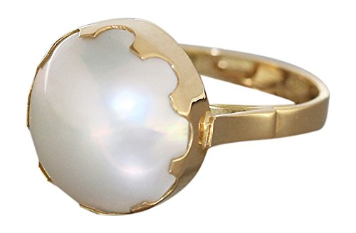 Hobra 18 ct GOLD RING with MABE Pearl RING 750 Gold-Mabeperle-RING of Beads DAMENRING
