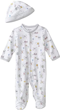 Little Me Baby-Boys Newborn Retro Bears Footie and Hat, White Print, 9 Months
