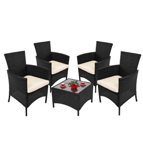 Mendler Garten-Garnitur RomV, Poly-Rattan, Tisch eckig + 4x Sessel ~ anthrazit mit Glasplatte