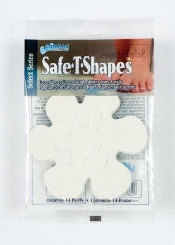 Compac Safe-t Shapes Non-slip Bath Tub/shower Appliques- White Daisies