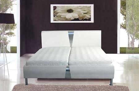 Polsterbett, Bett, Doppelbett 180 x 200 weiß Lederoptik inkl. Lattenrost