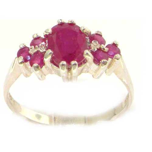 Ladies Contemporary Solid Sterling Silver Natural 2.25ct Ruby Ring - Size 12 - Finger Sizes 5 to 12 Available - Suitable as an Anniversary ring, Engagement ring, Eternity ring, or Promise ring