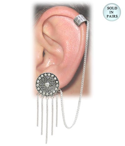 Sun-Dial Ear Lace Dangling Chains with Chained Ear Cuff