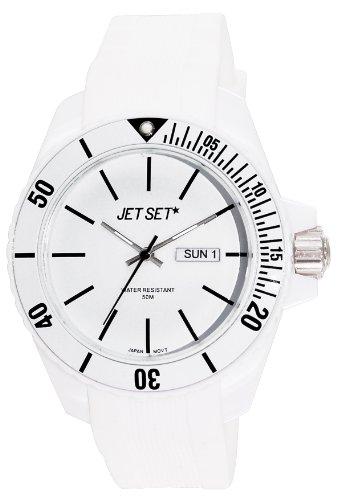 Jet Set J83491-21 - Reloj analógico de cuarzo unisex con correa de caucho, color blanco