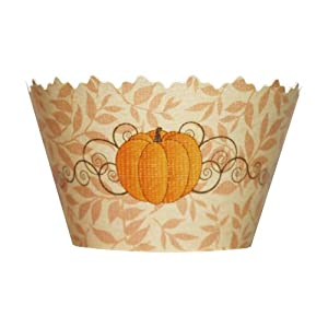 Fall Pumpkin Patch: Orange Leaf Harvest Cupcake Wrappers - Set of 12 - Autumn or Halloween Decorations