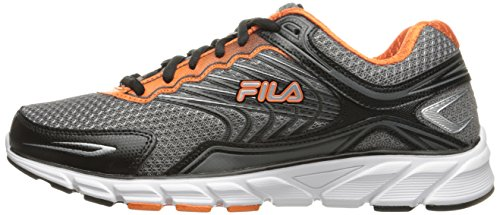 Fila Men's Memory Maranello 4 Running Shoe, Dark Silver/Black/Vibrant Orange, 10 M US