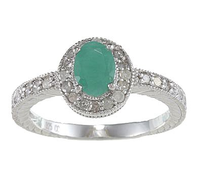 Genuine Emerald Diamond Ring – Vintage Style