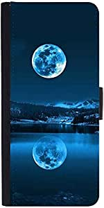 Snoogg Full Moon Reflection Designer Protective Phone Flip Case Cover For Lenovo Vibe S1