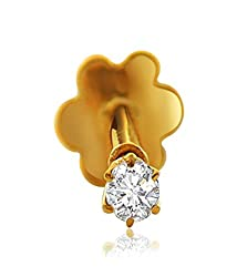 Gandhi Jewellers CZ Studded Gold Nose Pin. 14 Carats Gold Nose Pin.