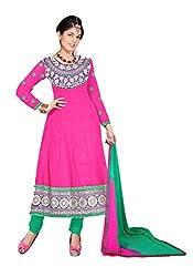 Kimisha Pink Cotton Anarkali Unstitched Dress Material