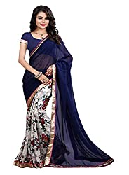 Pramukh saris Womens Georgette Designer Lace Work Sari (Blue)