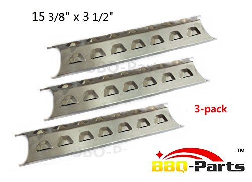 bbq-parts SPE181 (3-pack) Stainless Steel Heat Plate, Heat Shield, Heat Tent, Burner Cover, Vaporizor Bar, and Flavorizer Bar Replacement for Select Gas Grill Models by Brinkmann, Charmglow and Others (15 3/8