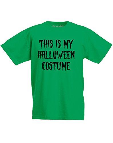 This is my Halloween Costume, Kids Printed T-Shirt - Kelly Green/Black 3-4 Years (2)