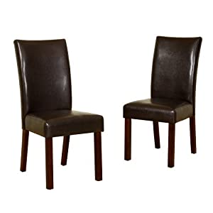 Brown Faux Leather Dining Chairs Set Of 2