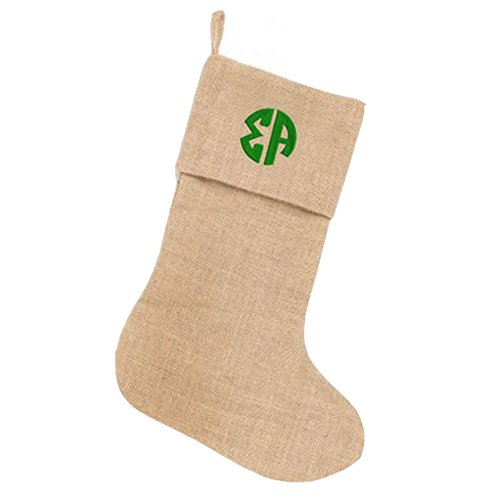 sigma-alpha-circle-monogram-burlap-christmas-stocking-tan-w-kelly-green