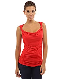 PattyBoutik Women\'s Cowl Neck Twist Straps Tank Top (Bright Red S)
