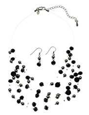 M&S Collection Assorted Bead Multi-Strand Necklace & Earrings Set