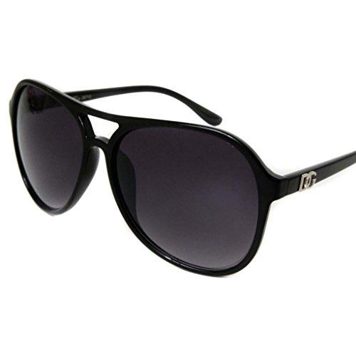 Womens Dg Fashion Aviator Sunglasses Celebrity Oversized Designer Style Shades-Solid Black