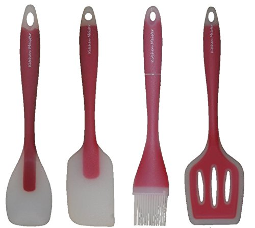 Silicone Nonstick Kitchen Cooking Utensil Spatula Tool Set, Red Gadgets, Set Includes: Slotted Turner, Pastry Brush, Spatula, Flat Spoon-11''