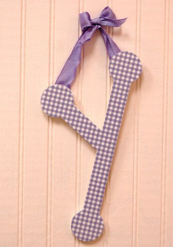 """My Baby Sam 9"""" Lavender Gingham Hanging Letter, Y"""