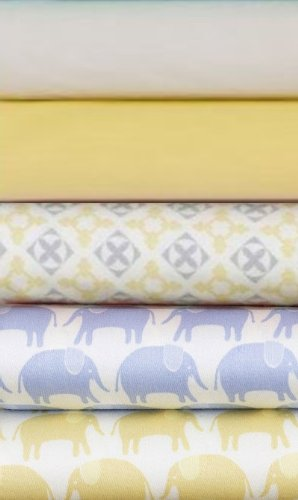 Magnolia Organics Crib Sheet Starlight Blue Elephant)
