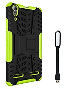 Chevron Hybrid Shock Proof Back Cover Case with Kickstand for Lenovo A6000 Plus With Mini USB LED Light Lamp (Green)