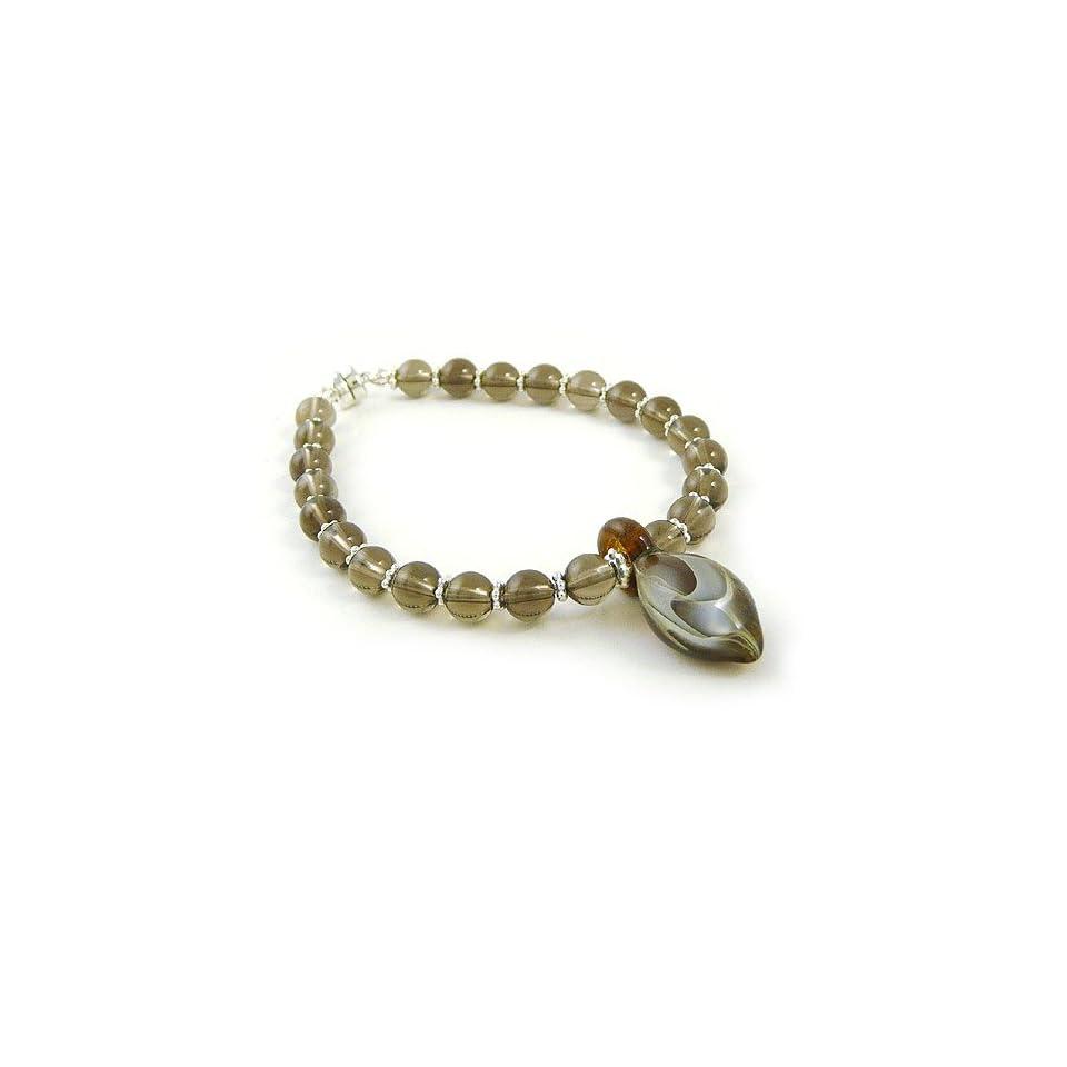 Smokey Quartz Strand Bracelet with Hand Blown Glass Swirl Charm, 7