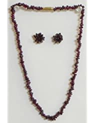 Maroon Stone Bead Necklace And Earrings - Stone Beads