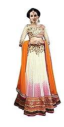 Indian styles orange,pink,cream,net lehenga