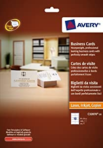 Avery Business Cards Multifunctional 260gsm 10 per Sheet 85x54mm Matt Coated Ref C32070-10 [100 Cards]