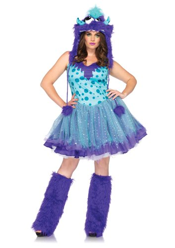 Leg Avenue Plus-Size Plus Size Dress with Tutu Skirt Furry Monster Hood