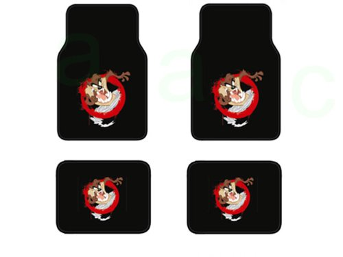 A Set of 4 Universal Fit Plush Carpet Floor Mats For Cars / Trucks and One Comfort Grip Steering Wheel Cover - Tasmania Devil Taz Whirlwind