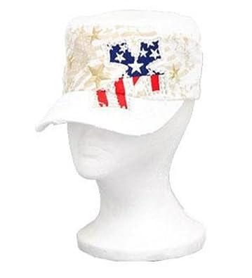 White Stars and Stripes Rhinestone Cross Cadet Hat