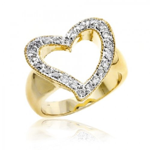 Bling Jewelry Gold Vermeil Pave CZ Open Heart Ring