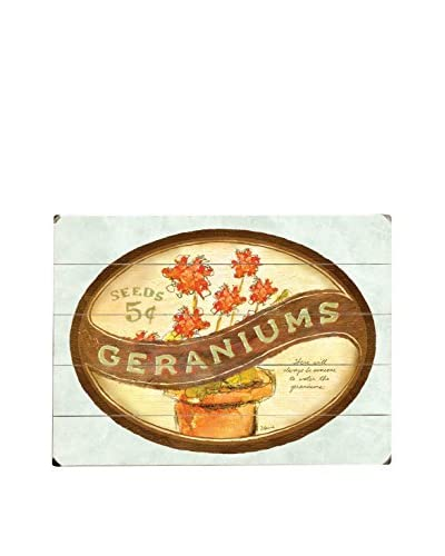Geraniums Wood Wall Décor  [Brown/Beige]