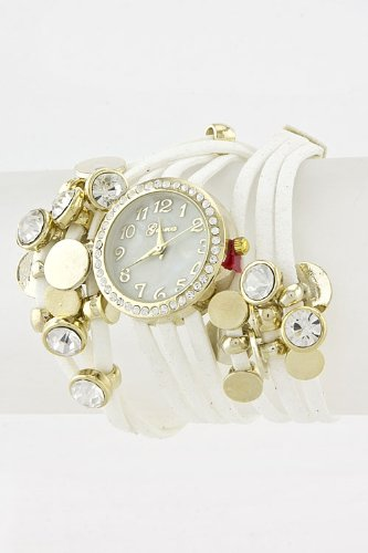 Chic Chelsea Velvet Strings Wrap Watch (White/Gold)