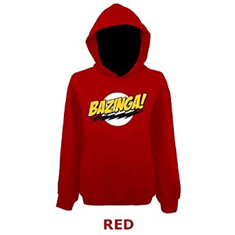 "Womens Bazinga Big Bang Theory Sheldon Slogan Funny Pullover Hoodie (UK 12 Extra Small / Chest 36"", Red)"