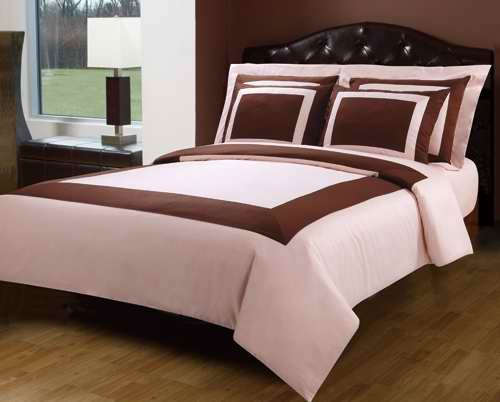 New Luxury PC Pink with Chocolate Thread Count King Cal king Duvet Cover