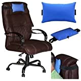 LEATHER CUSHION PILLOW HEAD & NECK REST For HIGH BACK EXECUTIVE CHAIR BLUE