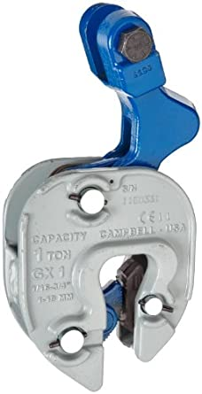 "Campbell 6423905 GX Plate Lifting Clamp with Chain Connector, 1/16"" - 3/4"" Grip, 1 ton Working Load Limit"
