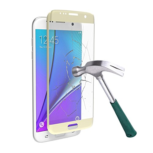 JOYLINK Samsung Galaxy S7 Edge Mirror Tempered Glass Touch 3D Curved Full Screen Protector, Gold