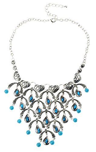 Veenajo Black Friday Ladies Water-drop Shape Turquoise Full of Love Fruit tree Statement Bib Necklace(silver) (Shark Lock Boot compare prices)
